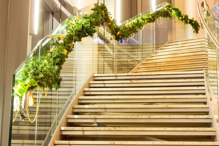 Christmas new year interior with pine and Christmas balls. Festive winter decorations. Narva-Joesuu, Estonia, Ida-Virumaa