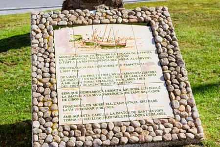 Blanes, Spain - 31 may, 2018: Imatge de Sant Antoni. Historical monument, sculptural composition. Architecture of Spanish beach resort Blanes in summertime. Costa Brava, Catalonia Editorial
