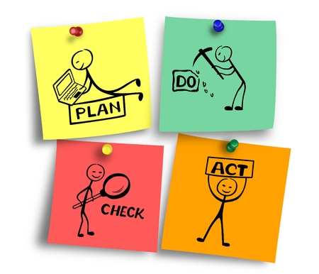 Illustration of Plan do check act concept on colorful notes