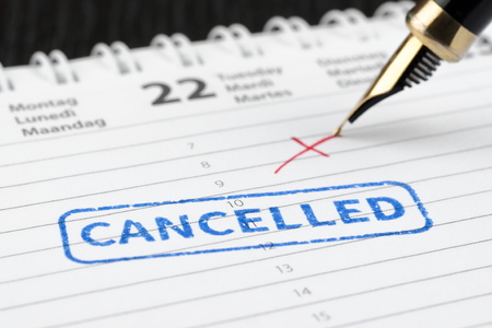 Seal cancelled stamped on paper planner