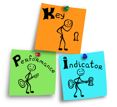 parameter: Illustration of key performance indicator concept on a colorful notes