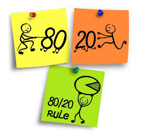 crucial: 80-20 rule, pareto principle illustration on a colorful notes.