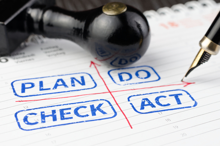 up do: Close up shot of Plan do check act concept on scheduler