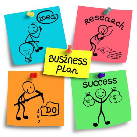 basic scheme: Elements of business plan illustration on a colorful notes.