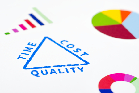 Project management triangle seal with colorful graphics