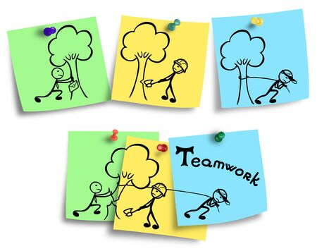 Illustration of teamwork concept on a colorful notes.