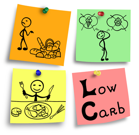 Simple illustration of low carbohydrates ingredients diet system.