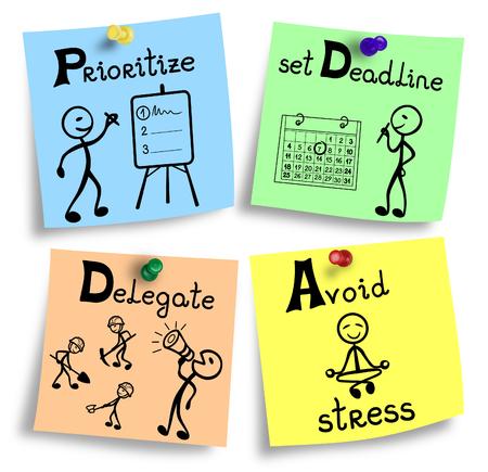 Simple illustration of time management system basics. Stock Photo