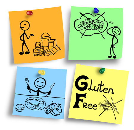 Illustration of gluten free ingredients diet system. Stok Fotoğraf