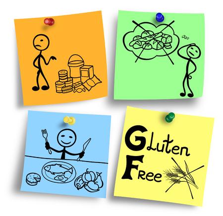Illustration of gluten free ingredients diet system. Stock Photo