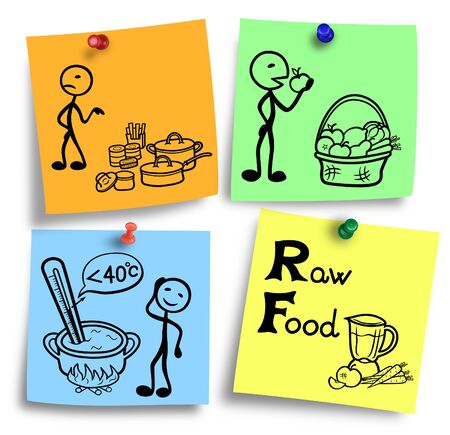 Simple illustration of a raw food diet system. Stock Photo