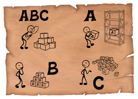 Illustration of abc analysis basics on a old paper. Simple drawings of a abc analysis in a storage. Stock Photo