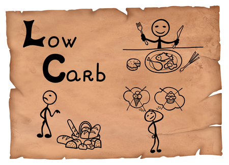 Simple illustration of low carbohydrates ingredients diet system on a parchment. Stock Photo