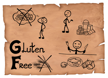 Simple illustration of a gluten free ingredients diet system on a parchment.