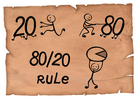 80-20 rule simple drawing which represents pareto principle on a parchment.