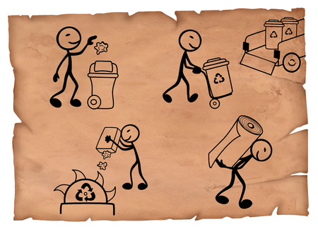 Old-fashioned illustration of recycling paper cycle steps from waste to new product.