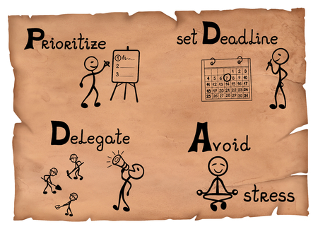 Old-fashioned illustration of a time management system basics. Stock Photo