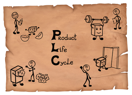 Simple illustration of lifecycle concept on a parchment, four stages from introduction to decline.