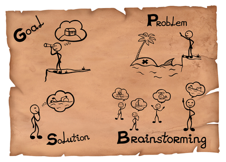 Simple illustration of brainstorming as brilliant thinking represented on a parchment.