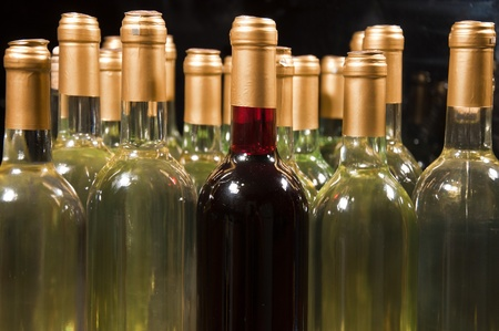 Closeup of bottles of white wine with a single red one in the middle photo