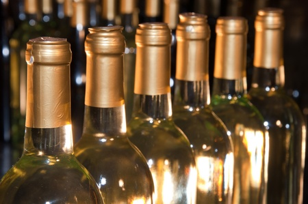 Closeup of bottles of white wine in a row fading into the distance photo