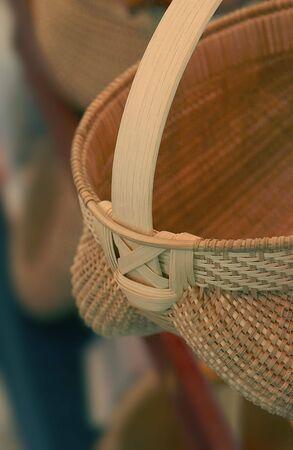 Een Appalachian mand weergegeven voor verkoop op een zomer ambachtelijke beurs.