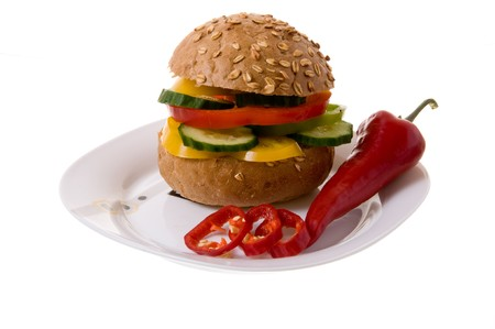 Hamburger with vegetables.