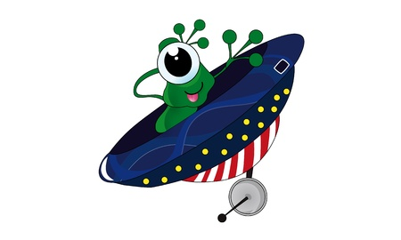 one eyed: Green one eyed alien in ufo  Cartoon and vector isolated