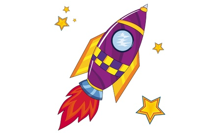 Space Rocket with stars Cartoon and vector isolated