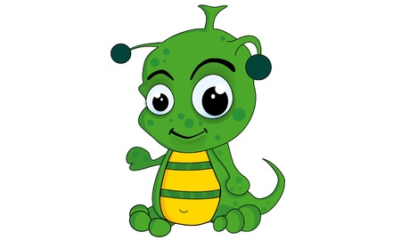 Green Alien  Cartoon and vector isolated  Vector