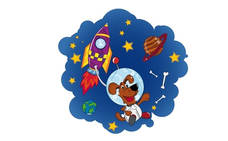 Dog in Space  Vector Cartoon Image  Vector