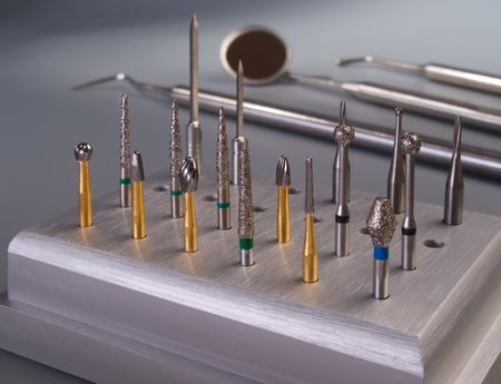 dental tools: Burs on dental tools background