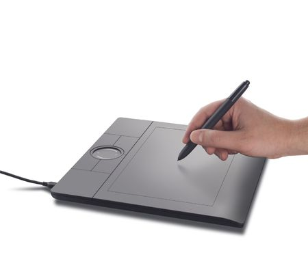 digitizer: Hand with pen and digitizer on white background
