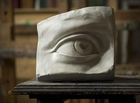 michelangelo: Gypsum model of DavidÂ's eye in painting studio interior Stock Photo