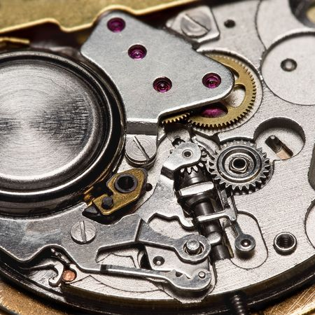 extremely close-up mechanism of quartz watch Stock Photo