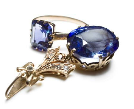 pendent: complete set of ring and pendent with blue gem