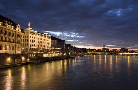 Old Basel, Swiss in dusk time 免版税图像