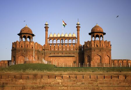 forts: The Red Fort durring sunset in Delhi, India Stock Photo