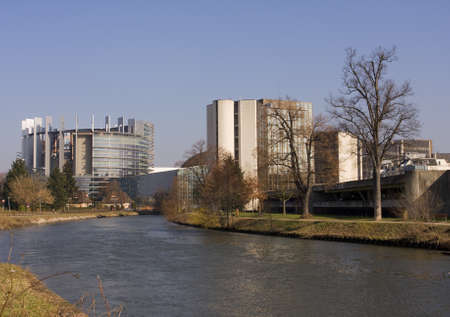 European parliament in Strasbourg France in early spring photo