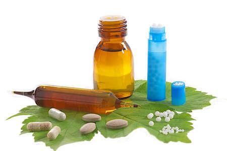 homeopatia: Homeopatía y Suplementos Dietéticos Foto de archivo