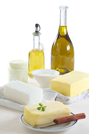 calory: Food Variety of Fats Stock Photo