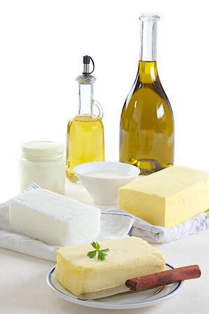 grasas saturadas: Variedad de comidas de grasas