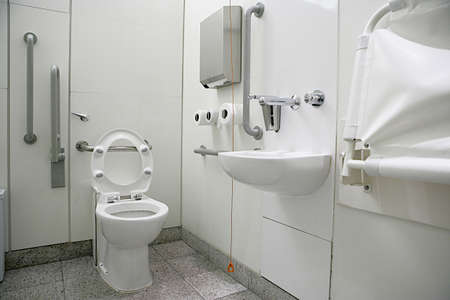view of a toilet interior for disabled in public places
