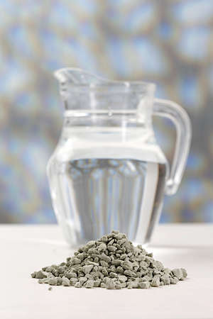 green powder: French clay to prepare cosmetic or healthcare treatment