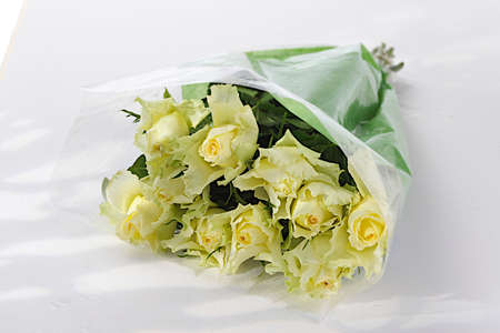 beautiful bouquet of yellow roses isolated on white  Stock Photo