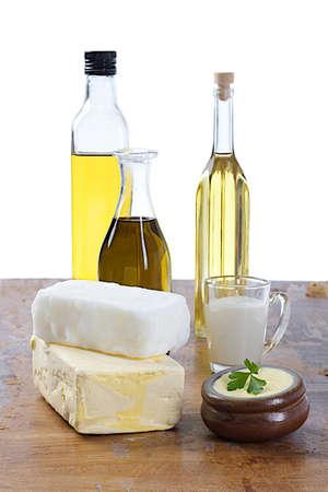 Saturated fats: tipo de grasas Foto de archivo