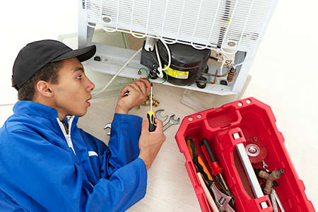 Repairman makes refrigerator appliance maintenance works  Stock Photo