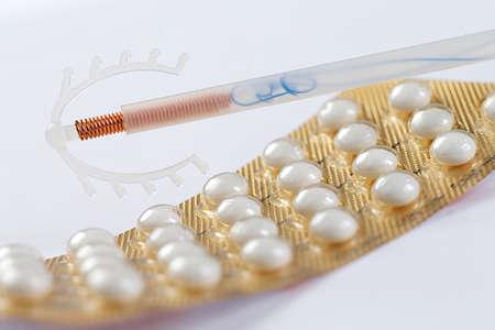 Birth Control symbole- IUD and contraceptive Pills