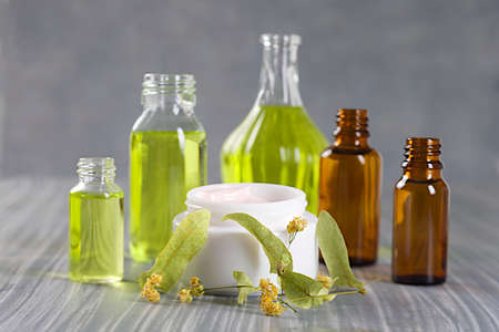 cosmetics collection: Naturel cosmetics collection - cream, serum, essential and aromatic oil Stock Photo