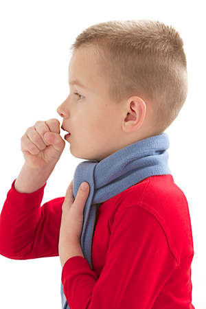 sick Caucasian boy who cough -isolated on white background